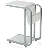 FUNIKA Side Table [22033] - White/Grey Metal - Meja Ruang Tamu